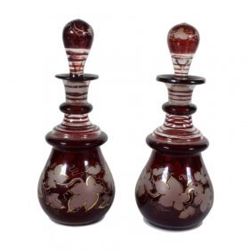 Pair Of Red And Clear Glass Decanters