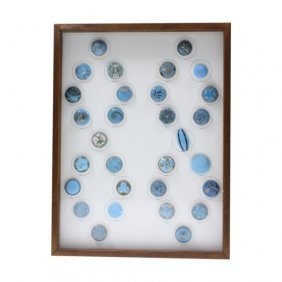 30 Piece Collection Of Turquoise Glass Buttons