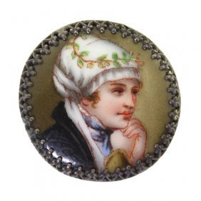 Hand Enameled Porcelain Portrait Button
