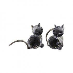 Pair Of Swarovski Cats