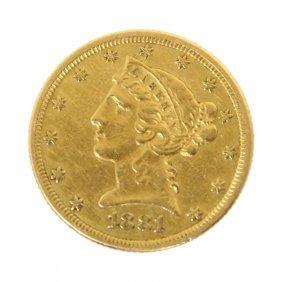 1881 5 Dollar Half Eagle Gold Coin