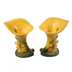 Roseville Pottery Pair Of Peony Cornucopia Vases