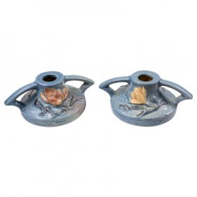 Roseville Pottery Magnolia Pair Of Candle Holders