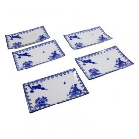 Set Of 5 Asian Footed Plates