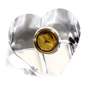 Crystal Paperweight Heart Clock