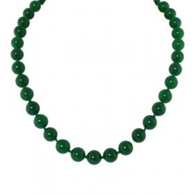 Sterling And Faux Jade Beaded Necklace