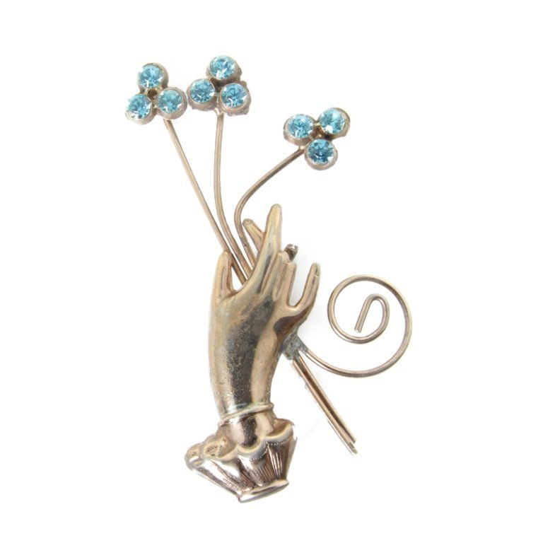 Vintage Hand with Flowers Brooch