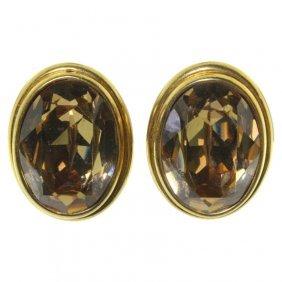 Pair Ciner Rhinestone Earrings