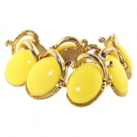 Yellow Trifari Modernist Bracelet