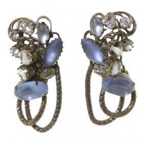 Rhinestone Clip On Earrings By Robert