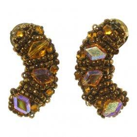 Hobe Rhinestone And Bead Earrings