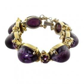 Schiaperelli Purple Rhinestone Bracelet