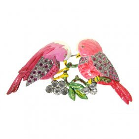 Enamel And Rhinestone Love Birds Brooch