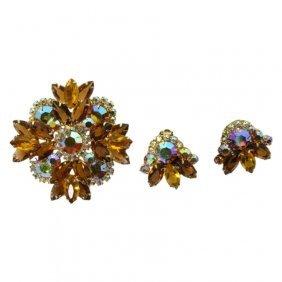 Delizza And Elster Juliana Brooch And Earring Set