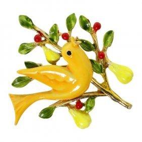 Art Partridge In Pear Tree Brooch