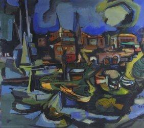 Original Watercolor, Abstract Waterfront Scene