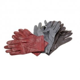 Lot Of Three Pairs Of Valentino Leather Gloves