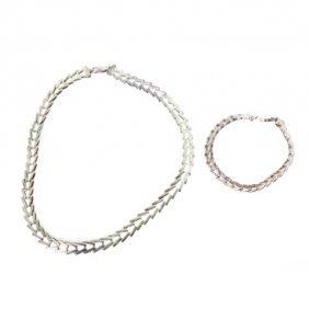 Sterling Milor Link Bracelet And Necklace