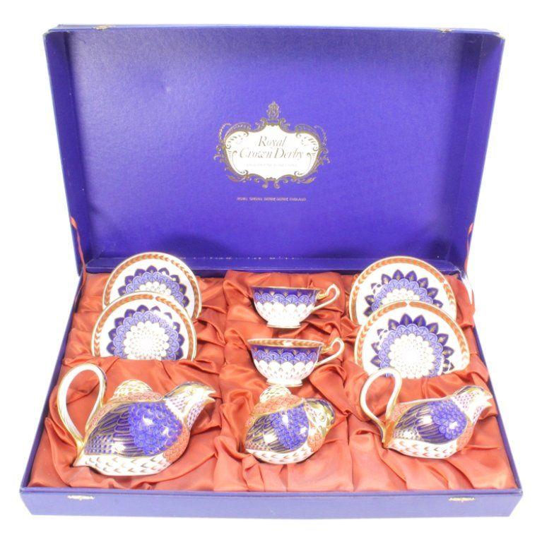 Royal Crown Derby Porcelain Quail 9 Pc Tea Service