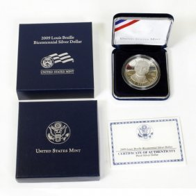 2009 Louis Braille Bicentennial Silver Dollar