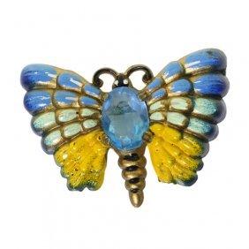 Vintage Enamel Painted Butterfly Brooch