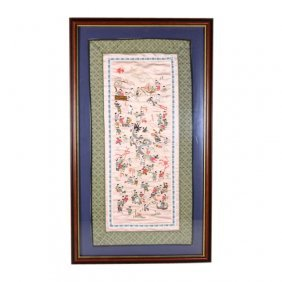 Framed Chinese Silk Dragon Festival Embroidery