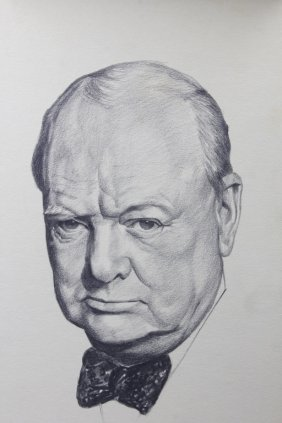 Charcoal And Pencil Portrait Of Winston Churchill