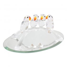 Swarovski Crystal Baby Lovebirds On Branch