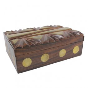 Wooden Trinket Box With Brass Accents