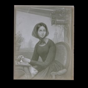 Lady With Bird In Birdcage Lithophane Panel