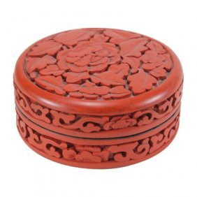 Carved Cinnabar Lacquer Trinket Box