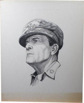 Charcoal And Pencil Portrait Of Douglas Macarthur