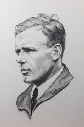 Charcoal And Pencil Portrait Of Charles Lindbergh