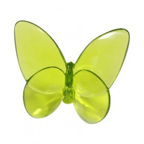 Baccarat France Crystal Lucky Green Butterfly