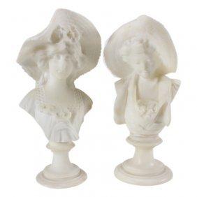 Vintage Pair Of Carved Alabaster Women Bust