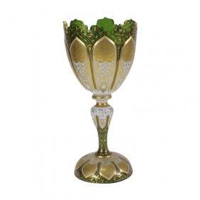Bohemian Czech Emerald Green Cut Art Glass Chalice