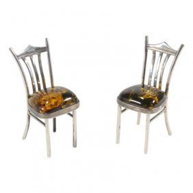 Pair Of Sterling & Faux Amber Small Chairs