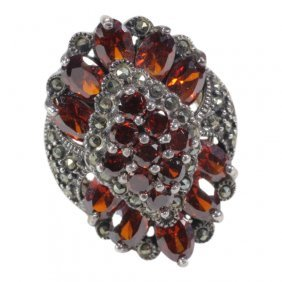 Marcasite Sterling & Gemstone Ring