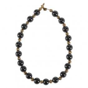 Hematite Bead Ball 14k Gold Bracelet
