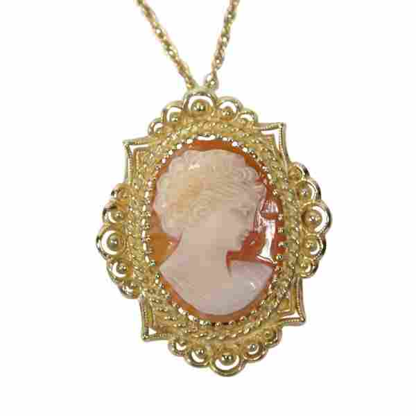 Cameo Brooch Pendant Necklace in 14k Gold