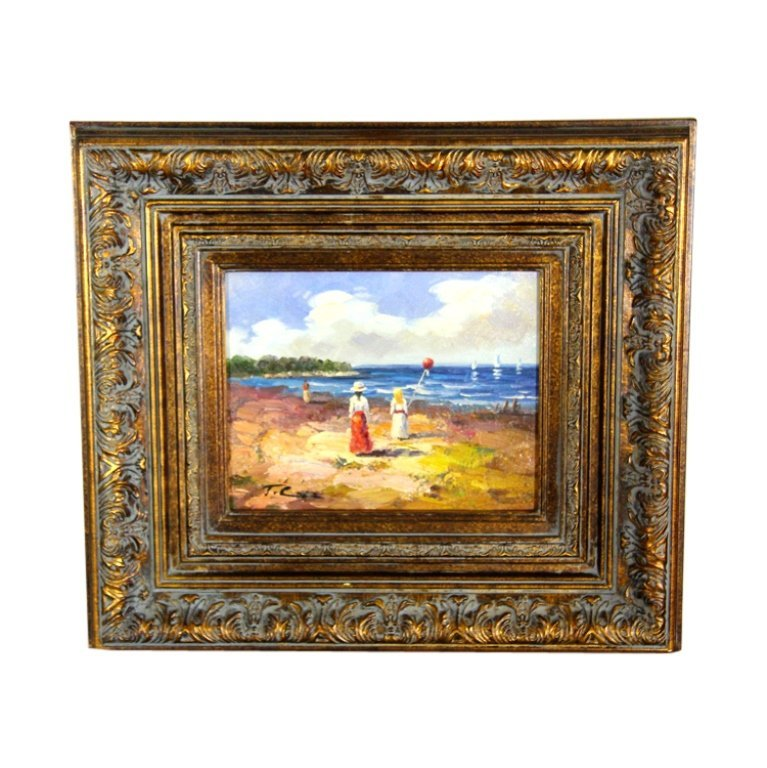 Woman & Girl with Red Balloon On Beach Painting - 2