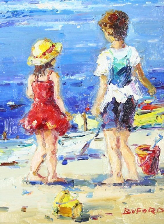 Boy & Girl on Beach with Red Bucket Painting