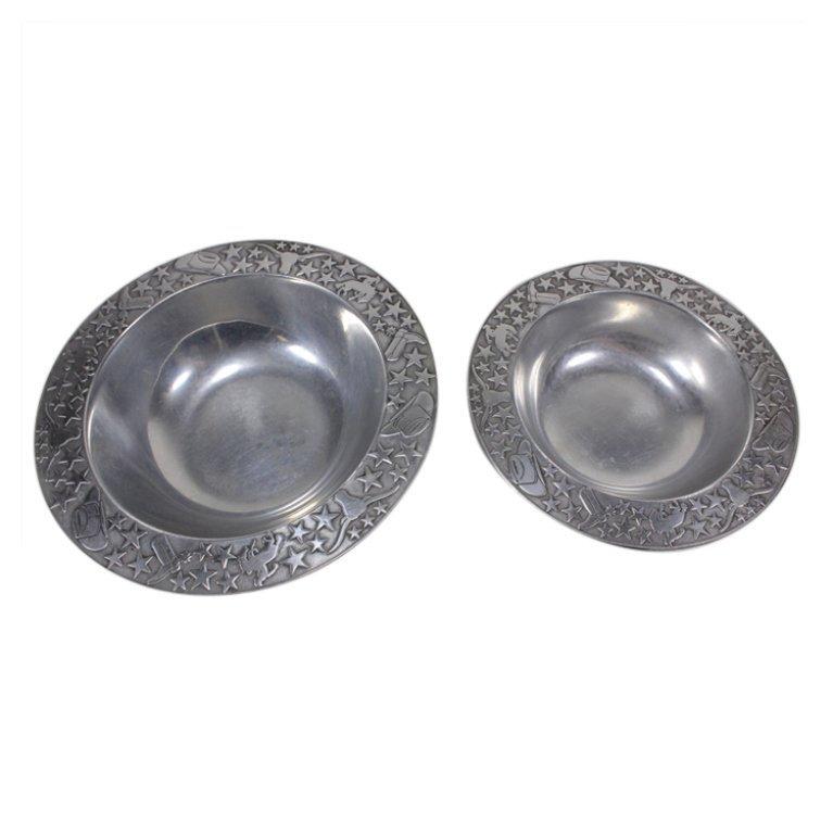 Set of 2 Wilton Armetale Western Serving Bowls