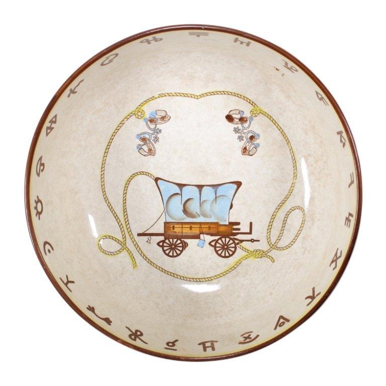 Vintage Fred Roberts Western Theme Serving Bowl