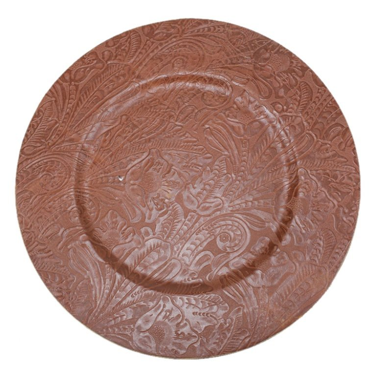Set of 12 Tooled Leather Plate Chargers