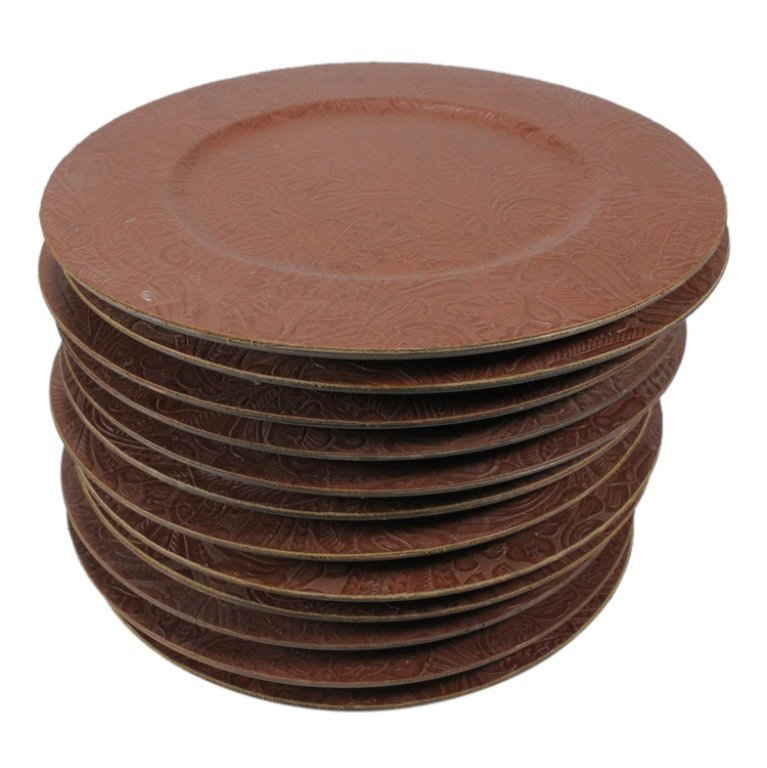 Set of 12 Tooled Leather Plate Chargers - 3
