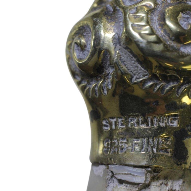 Vintage Metal &Sterling Cane Walking Stick - 3
