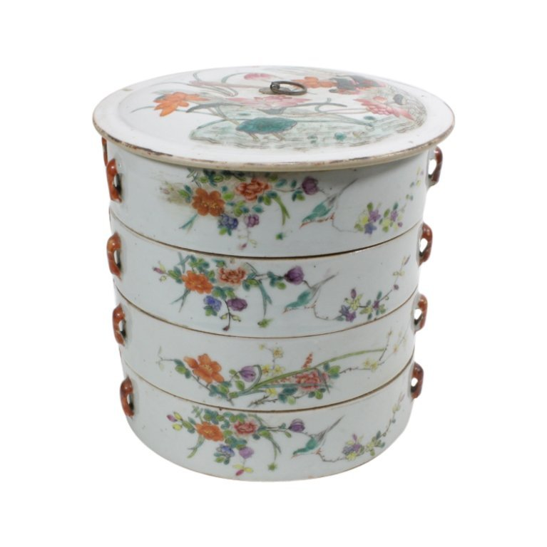 19th C. Chinese Porcelain Four-Tier Sweetmeat Box