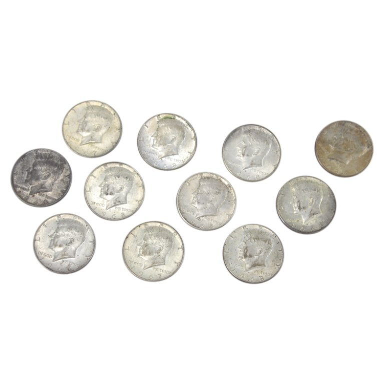 Group of 11 Coins 40% Silver Half Dollars