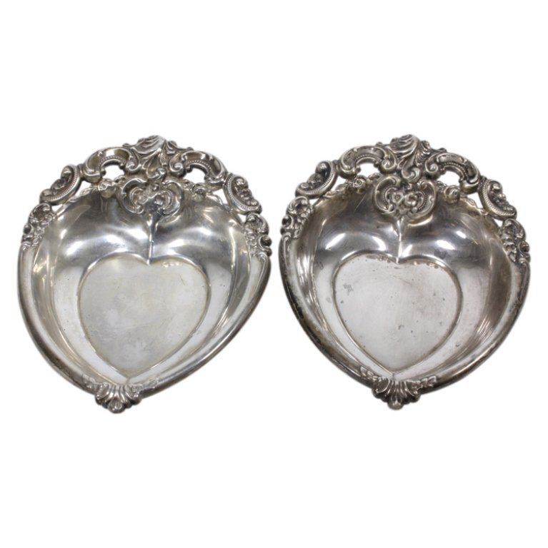 Pair Wallace Grande Baroque Sterling Dish Trays